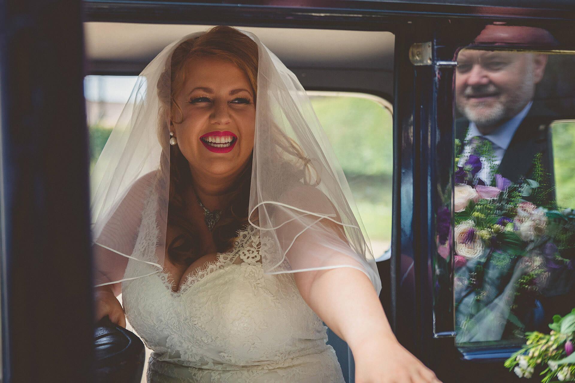 Bride opening door