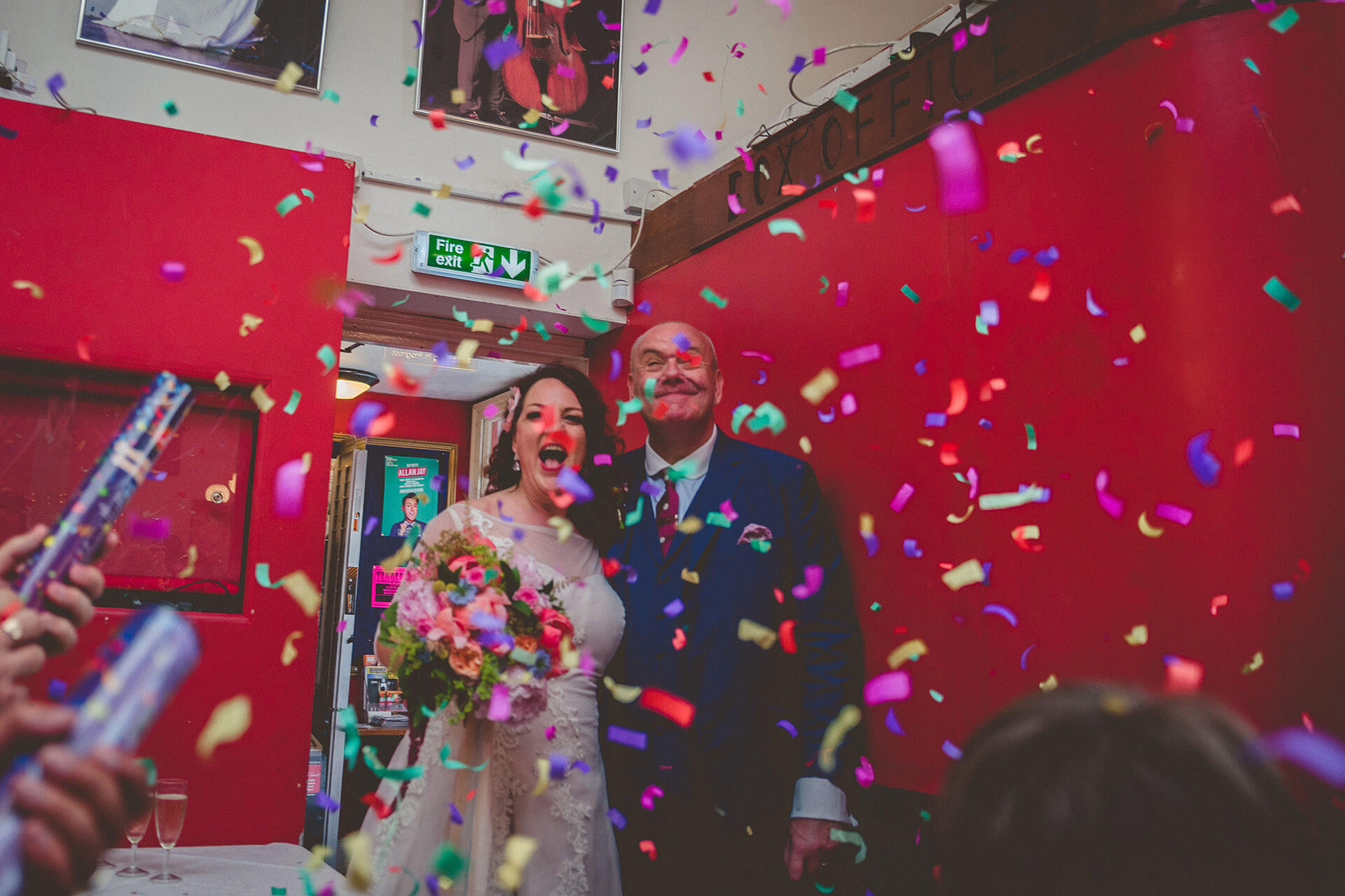 Bride and groom confetti surprise