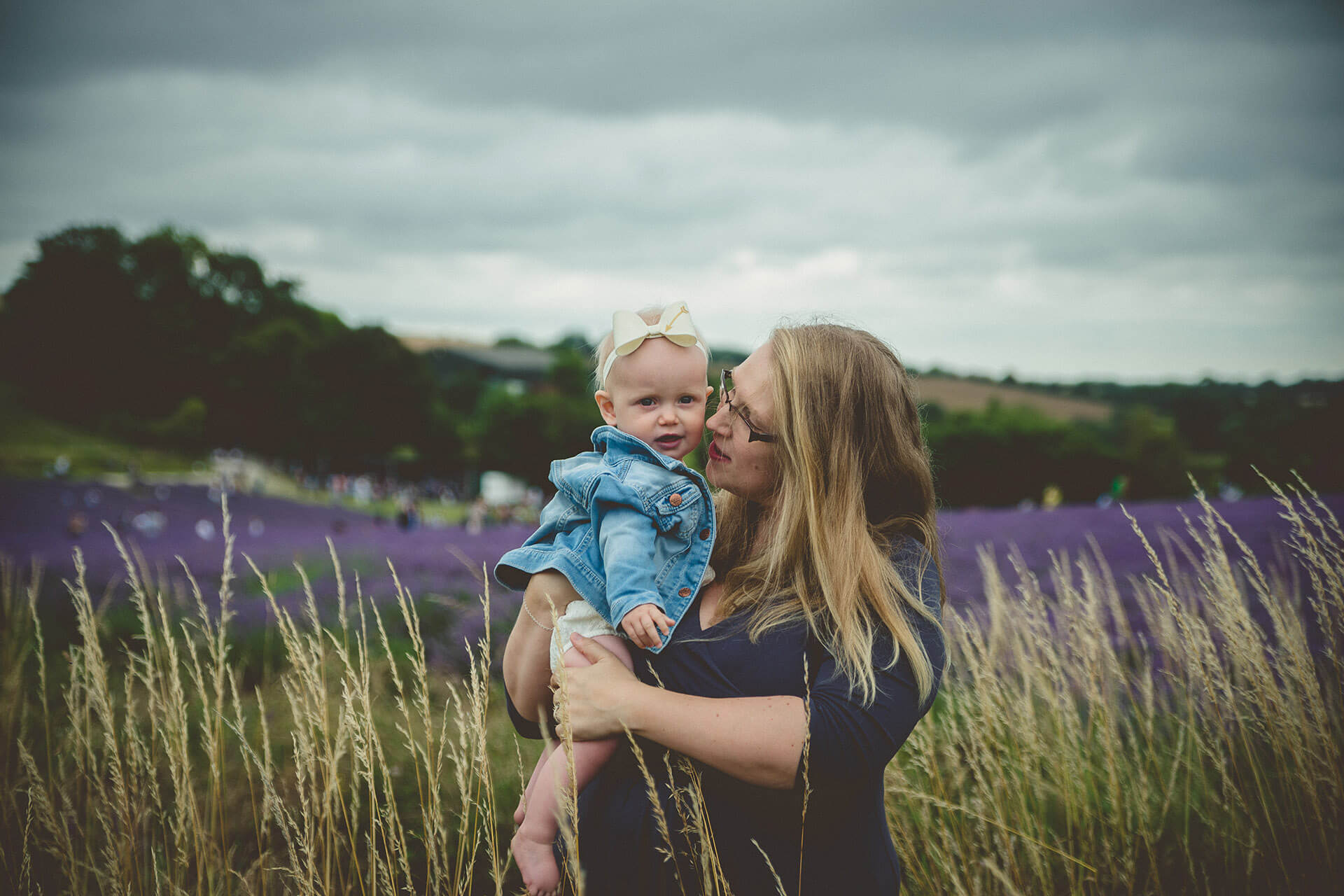 Mum and baby on a field of lavender