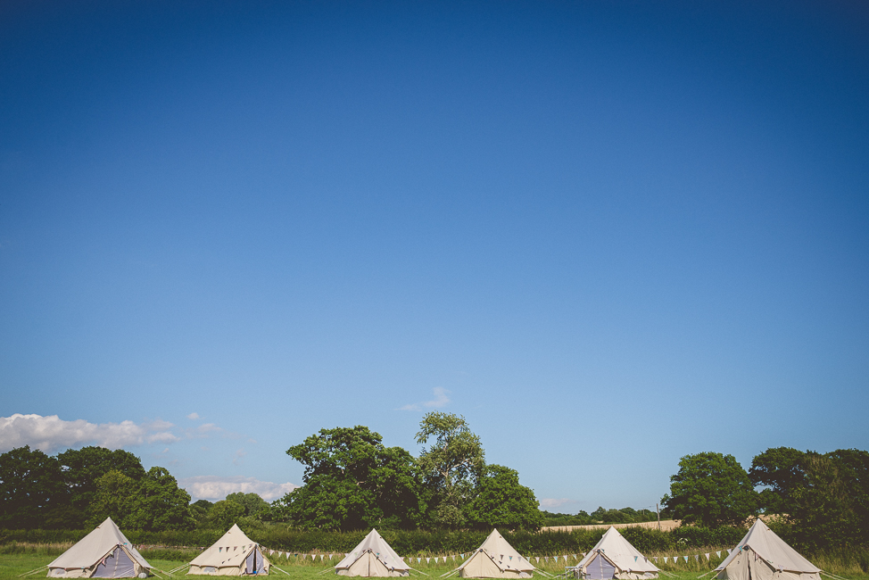 Bell tents in the sun