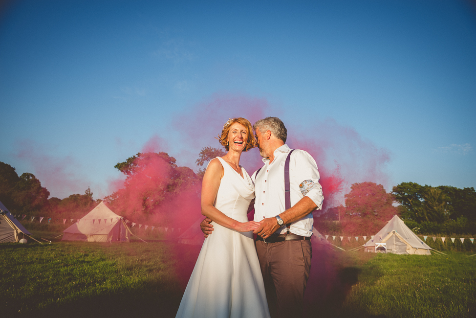 Red smoke bomb at the secret barn