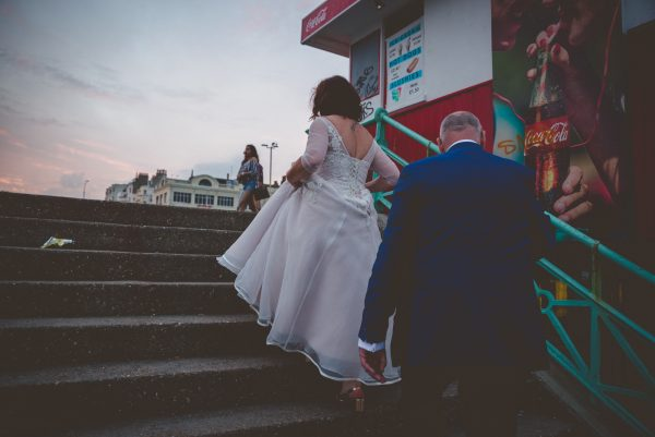 couple going up the stairs