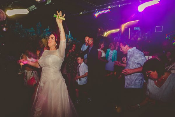 Partying at their wedding