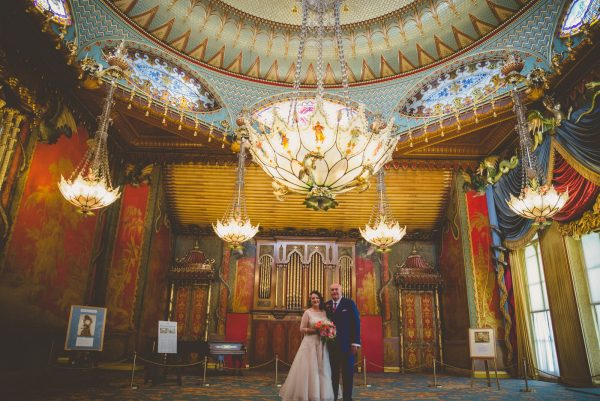 Bride and Groom at the music room at Brighton Pavilion