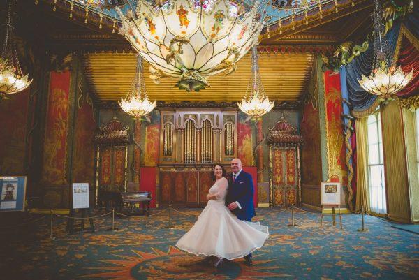Bride and groom dance in brighton pavilion wedding