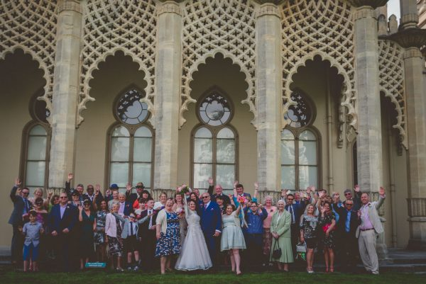 Wedding guests outside the pavilion