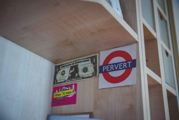 Sticker of underground sign reading pervert