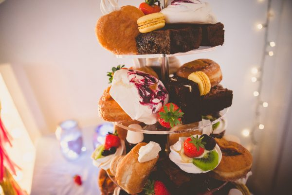 Wedding cake - tower of donuts and small cakes