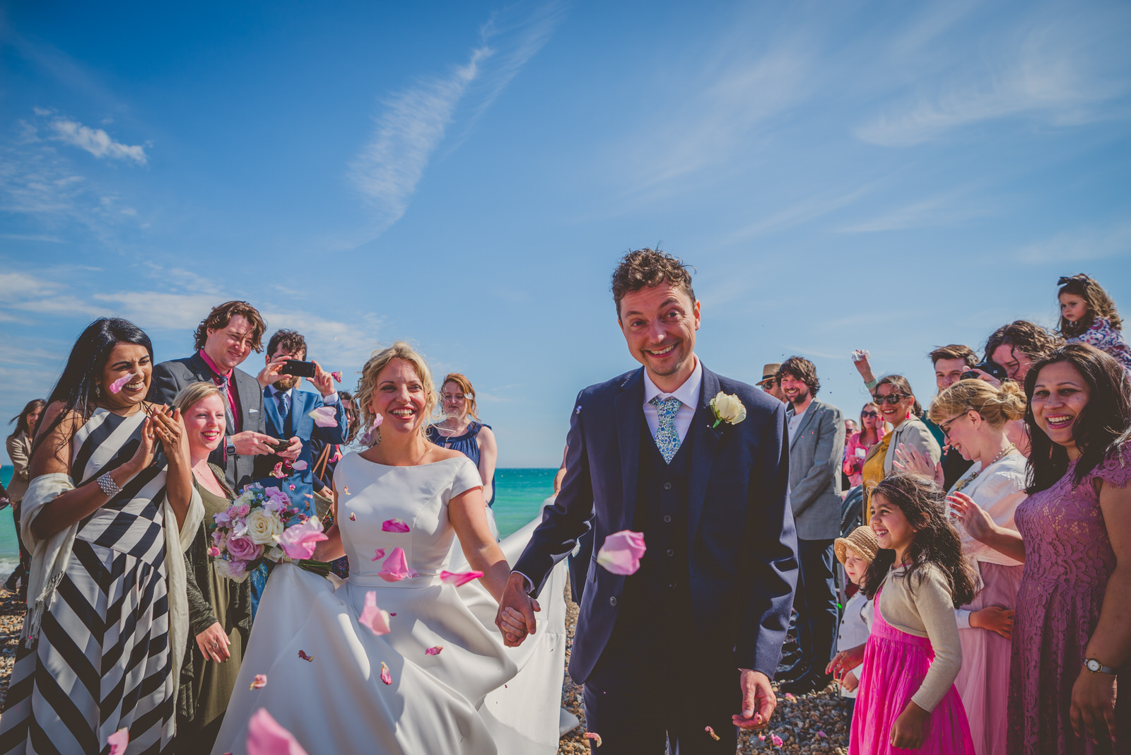 Bride and groom on worthing beach
