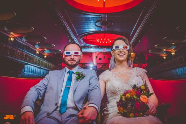 Creative cinema image of bride and groom