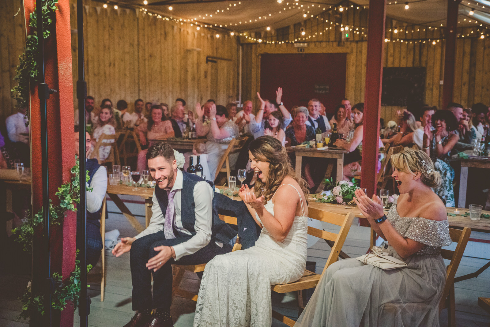 Bride and groom embarrased by speeches